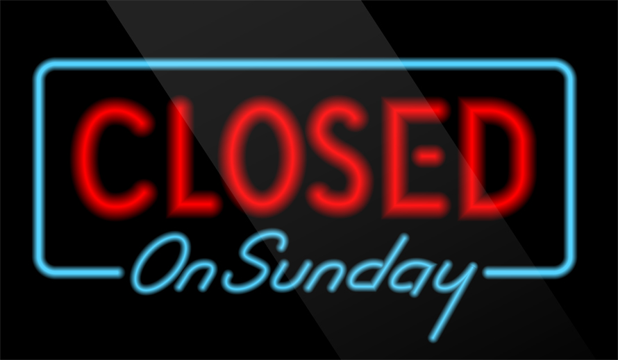 Closed on Sunday-blog header
